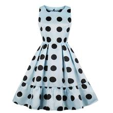 Women Big Polka Dots in Blue Ruffle Dress Woman Pleated 1950s Retro Swing Vintage Satin 50s Flare Skater Party Dresses