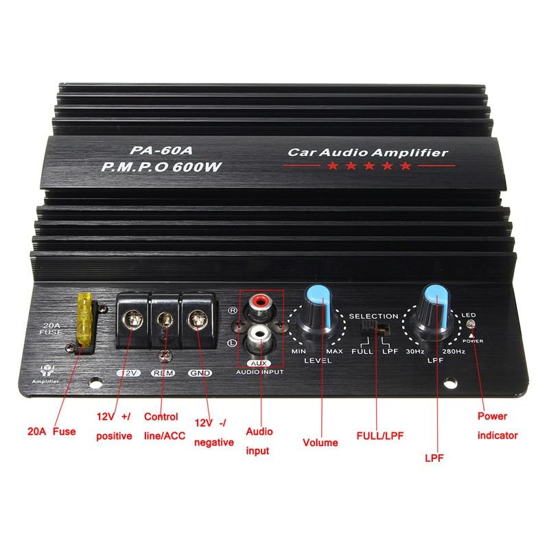 KROAK Black 12V 600W Amplifier Board Mono Car Audio Power Amplifier Powerful Bass Subwoofers Amp PA-60A