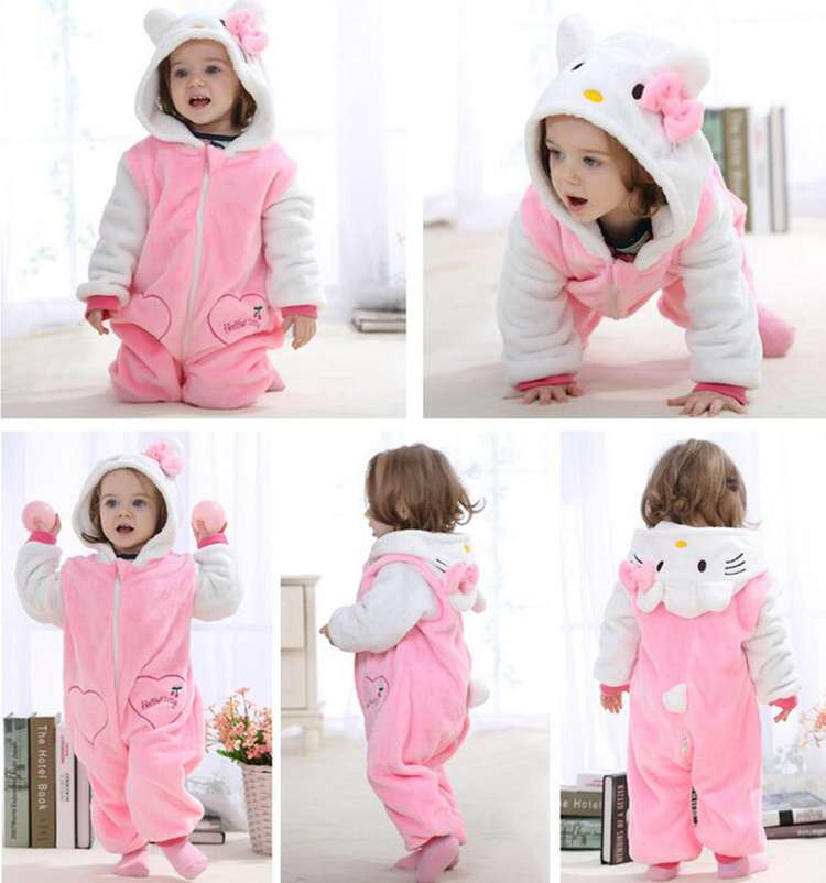 Kawaii Hello Kitty Panda Baby Girls Clothes Animal Baby Rompers Costume Winter Fleece Clothes For Boys Warm Snowsuit Jumpsuit (7)