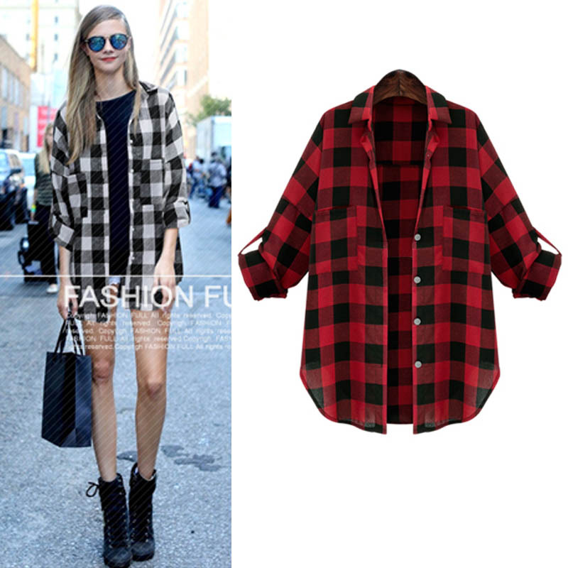 2015 Spring Autumn New Casual Button Down Lapel Neck Plaids Checks Flannel Shirts Women Long Sleeve