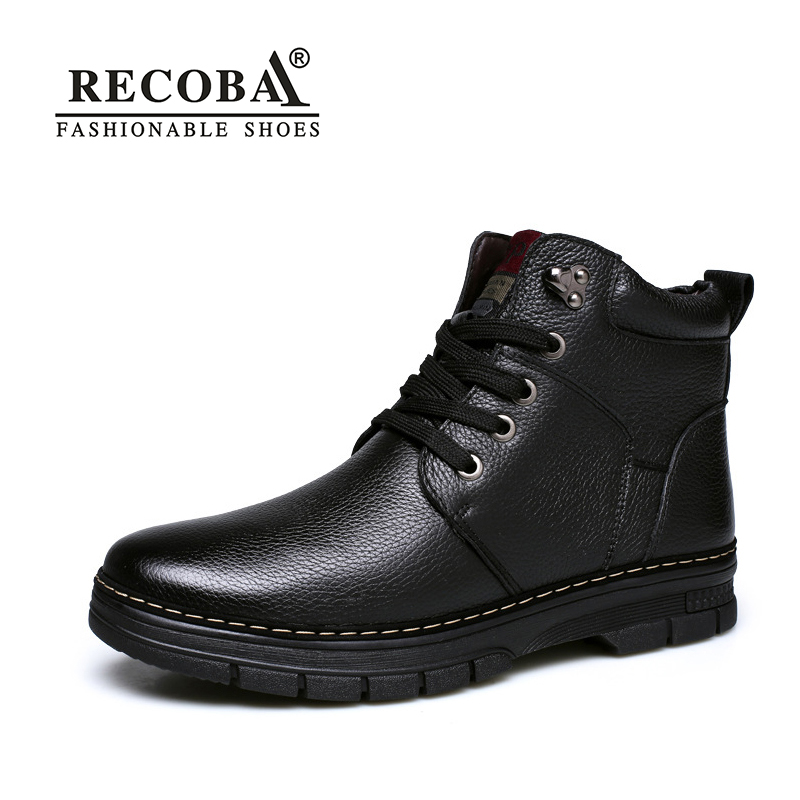men's boots genuine leather winter shoes men outdoor ankle warm fur plush snow boots motorcycle high-top boots winter bota shoes 2016 new arrival men winter martin ankle boots pu leather high quality fashion high top shoes snow timbe bota hot sale flat heel