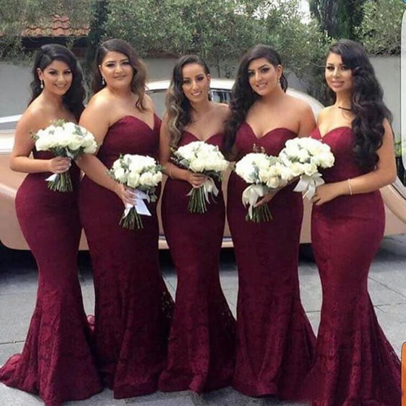 2019 New High Quality Burgundy Color Mermaid Lace Formal Bridesmaid Dress Sweetheart Neckline Long Maid Of Honor Gown Plus Size
