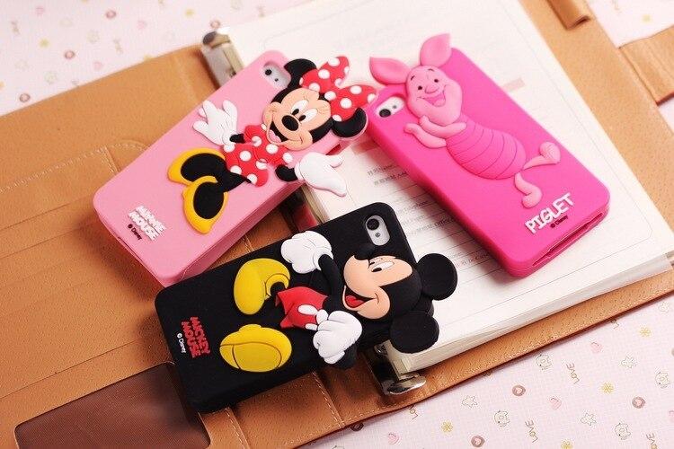 Fashion Cartoon Mickey Case For Funda iPhone 5 Case Luxury Silicone Capinha Cute Minnie Coque For Capa Para iPhone 5s Cover