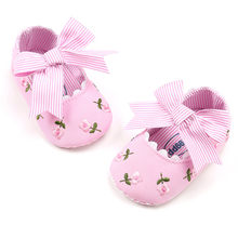 Fashion Bowknot Baby Girls Princess Shoes Embroidery Flower Printed Toddler First Walkers Anti-slip Kids Shoes Sneakers Bebe#NL(China)