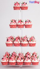 YestBuy 4 Tier Maypole Square Wedding Party Tree Tower Acrylic Cupcake Display Stand With Base (4 (15 cm gap))(20 Inches)