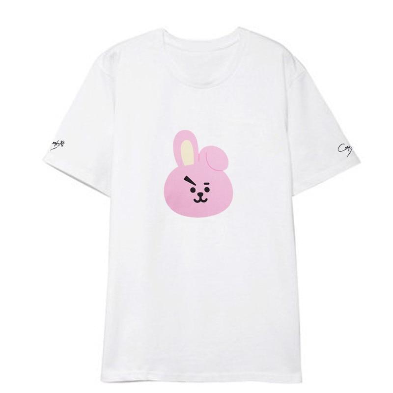 Kpop BTS BT21 Cartoon Album Shirts Hip Hop Casual Loose Clothes Tshirt T Shirt Short Sleeve Tops T-shirt
