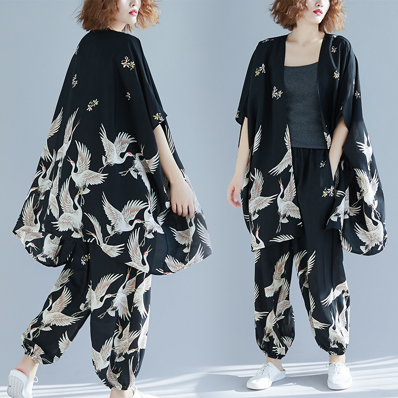 2019 female new spring and summer plus plus size crane printed shirt wide leg pants foreign