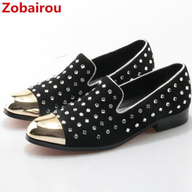 b3c742ab8946e7 Chaussure Homme rouge noir classique chaussures italiennes fer bout rond  diamant chaussures hommes décontracté hommes mocassins