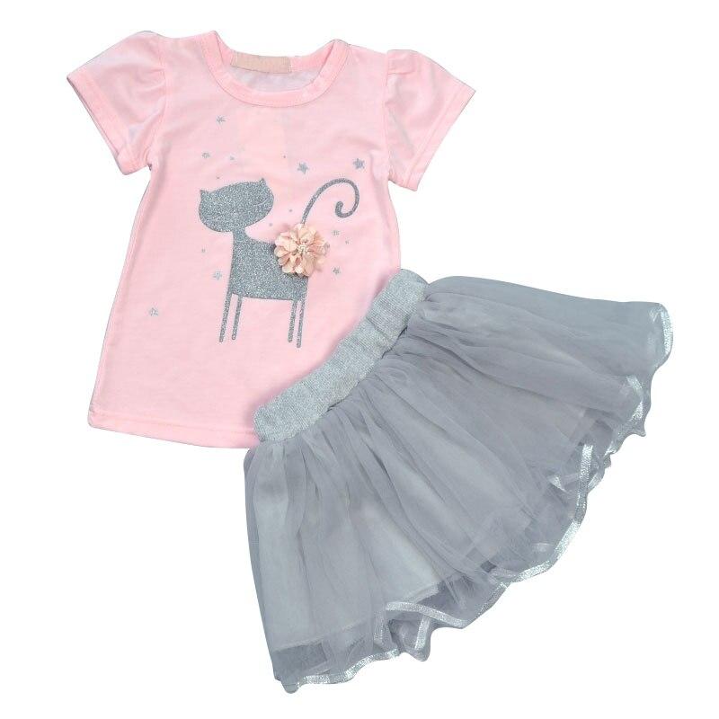 2 Pcs Baby Girls Clothes Set Cotton Short Sleeve Floral Printed Cat Pattern + Yarn Skirt floral printed raglan sleeve tee