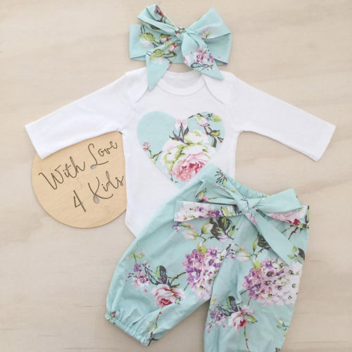יילוד קיד סט בגדי תינוקת פרחוני שרוול ארוך בגדי תלבושת סט סרבל מכנסיים הדפסת 3 יחידות + בארה 'ב