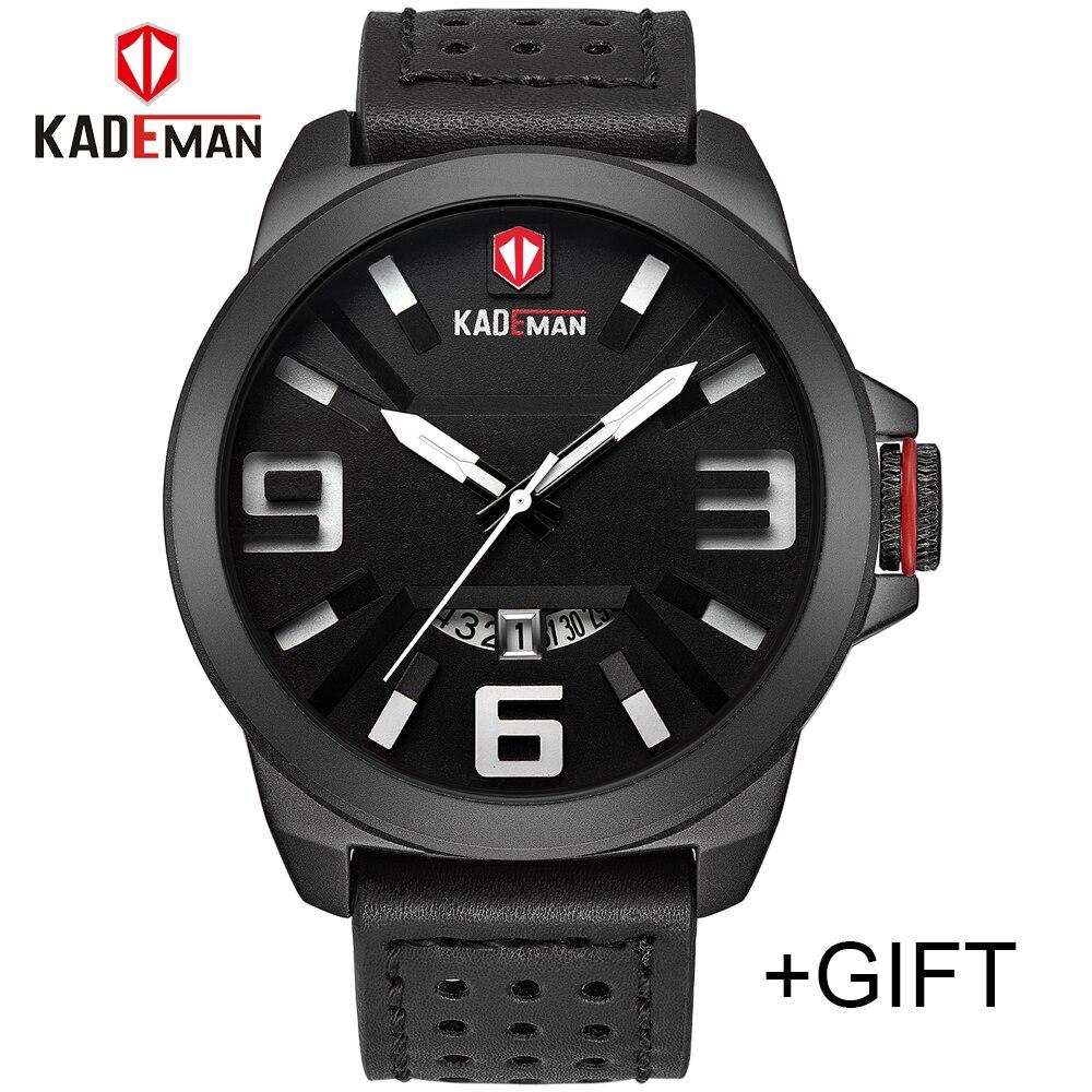 все цены на Top Luxury Brand KADEMAN Men Sport Watches Men's Quartz Date Clock Man Fashion Waterproof Leather Wrist Watch Relogio Masculino