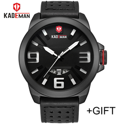 Top Luxury Brand KADEMAN Men Sport Watches Men's Quartz Date Clock Man Fashion Waterproof Leather Wrist Watch Relogio Masculino