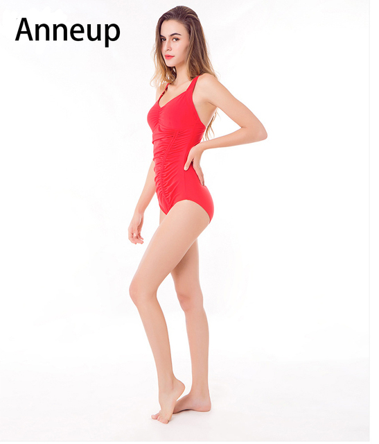 295e449cf2 Anneup Hot Sexy Solid swimsuit One Pieces Slimming Swimsuit women Shoulder bathing  suit Push Up Monokini Bathing Swim Suit P0108