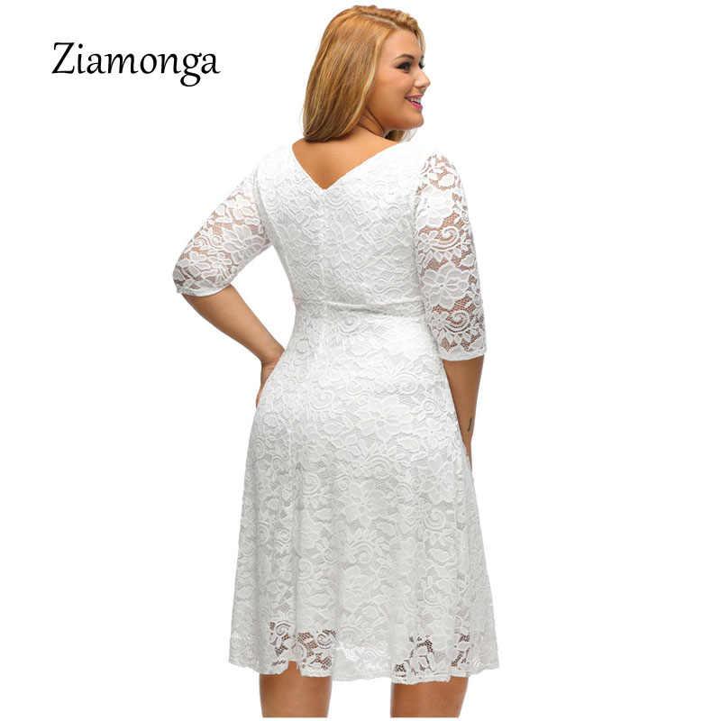 ... Ziamonga XL XXL XXXL Plus Size Vestidos Black White Midi Lace Dress  Short Sleeve Causal A ... 112acd012f3b