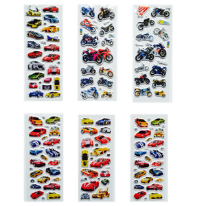 Image 2 - 6Pcs/lot Bubble Stickers 3D Cartoon Car Motorcycle  Stickers Classic Toys Scrapbook For Kids Children Gift