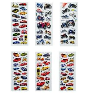Image 2 - Autocollants à bulles 3D, autocollants dessin animé voiture moto Scrapbook, jouets classiques, cadeau pour enfants, 6 pièces/lot