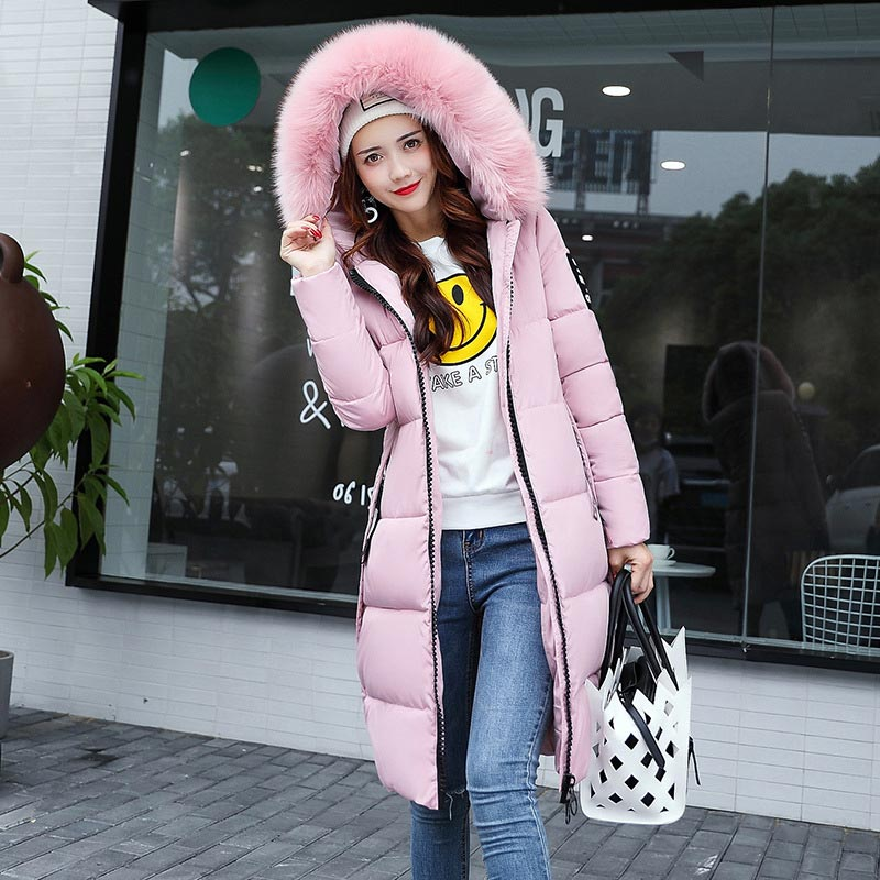 Winter jacket women high quality   down     coat   female 2019 long slim solid color female Jackets zip fur collar women   down   Jacket