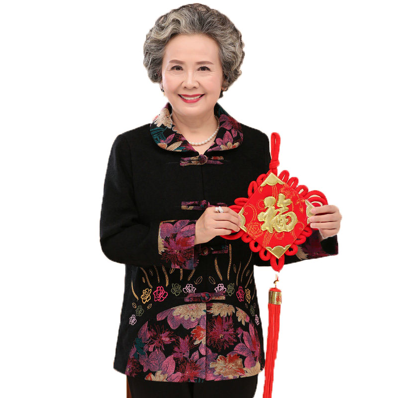 Elderly Woman Flower Velvet Jackets Black Red Coat Chinoiserie Grandma Embroider Jackets Chic Elegant Outerwear 70S 60S 50S Coat
