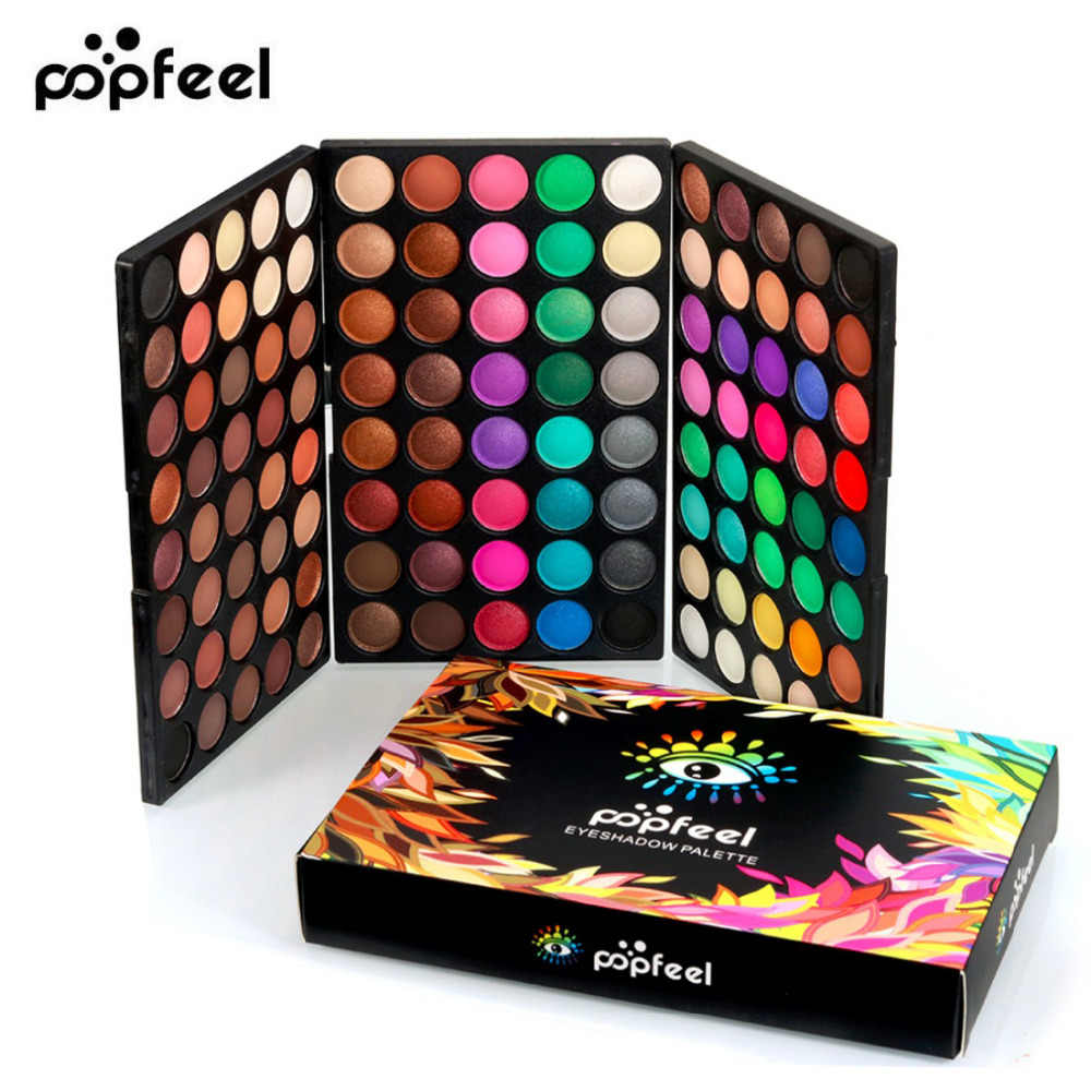 Popfeel 120 Warna Berkilau Eyeshadow Palet Eye Shadow Palet Shimmer Shine Nude Make Up Palet Set Kit Kosmetik Wanita