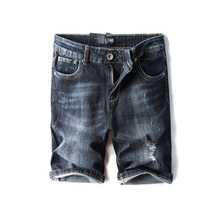 Fashion Summer Men Jeans Shorts Black Blue Vintage Elastic Ripped Short Streetwear Hip Hop Denim DSEL