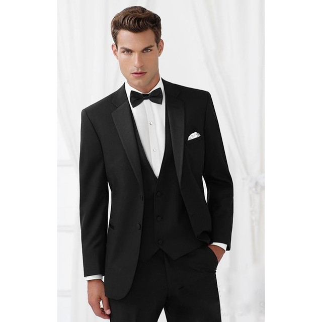 Classic Style Two Button Black Groom Tuxedos Groomsmen Mens Wedding ...
