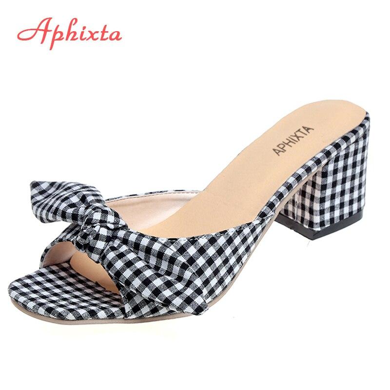 Aphixta Vichy Pantoufles Femmes D'été Coton Tissu Diapositives Papillon-noeud 6 cm Carré Talon Sandales Flip Flops Dames Chaussures