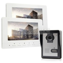 DIYSECUR 7inch Video Intercom Video Door Phone 1 Camera 2 Monitors for Home / Office Security System White