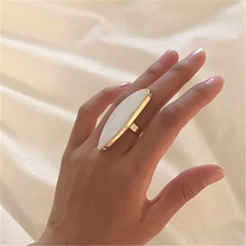 Модные женские кольца, ацетатные пластины, регулируемое кольцо, овальная акриловая смола, геометрические кольца, трендовые геометрические обручальные кольца