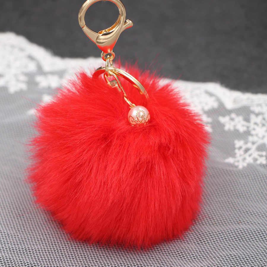 บิ๊กF Auxเพิร์ลกระต่ายขนบอลพวงกุญแจกระเป๋าถือแหวนตุ๊กตาประตูโน๊ตเทียมขนพู่พวงกุญแจเครื่องประดับPom Pomจี้