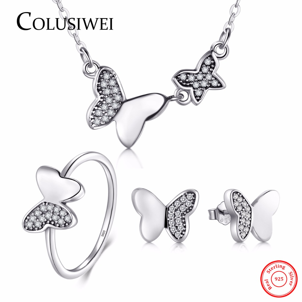100% Real 925 Sterling Silver Butterfly Jewelry Sets New Design Simple With 5A CZ Ring Vintage Rings Necklace Earrings For Women vintage rivet hollowed butterfly ring for women page 7