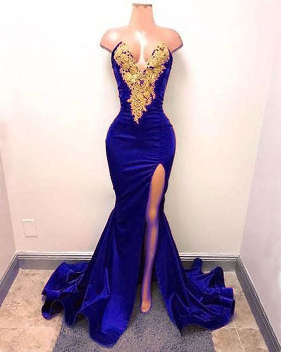 V Neck Royal Blue   Prom     Dresses   with Slit Floor Length Long   Prom   Gown with Gold Appliques