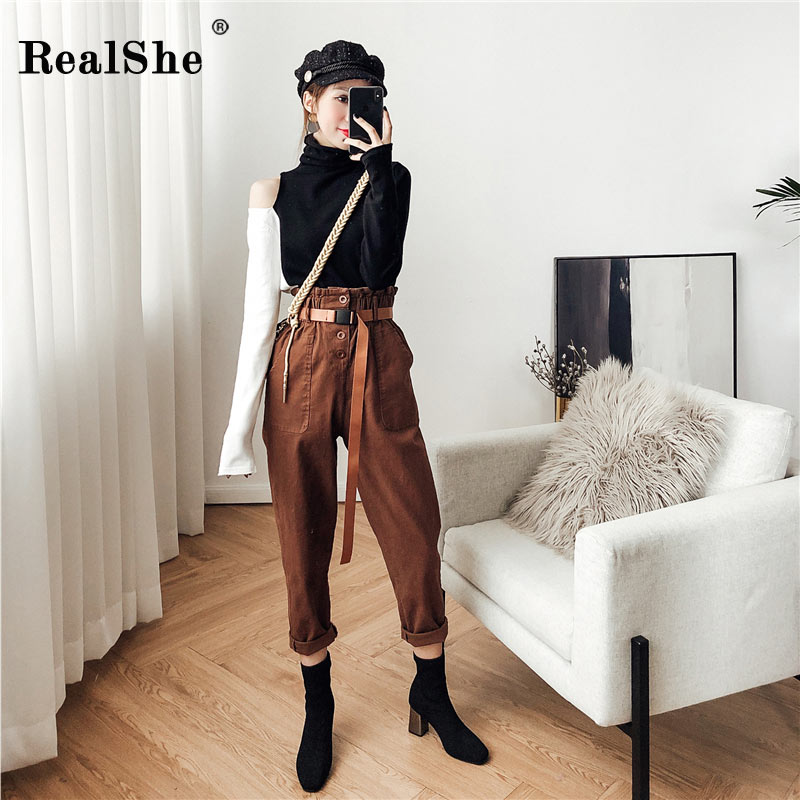 RealShe 2018 Female Casual Spring Autumn Women Loose Casual High Waist Cargo Long Pants Button Sashes Streetwear Free Shipping