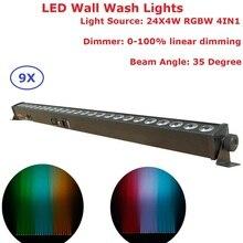 hot deal buy  9 units 24x4w rgbw 4in1 led wall wash lights dmx led bar dmx line bar wash stage lights for dj disco party indoor shows