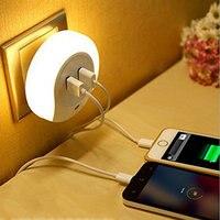EU Plug LED Night Light Sensor 2 USB Charging Socket Mobile Phone Charger 0 5W 2