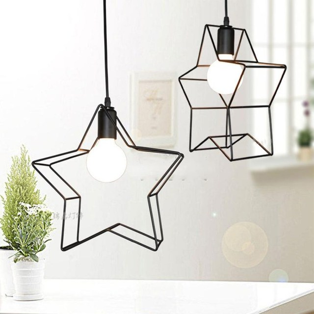 Vintage Iron Cage Hanglamp Re Luminaria Avize Black Star Hang Lamp Children S Bedroom Lighting Fixtures