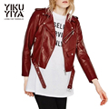 YIKUYIYA Open Collar Metal Zipper Women Jacket Dark Red PU Short Biker Jacket Drawstring Waist Long Sleeve Spencer Basic Jacket