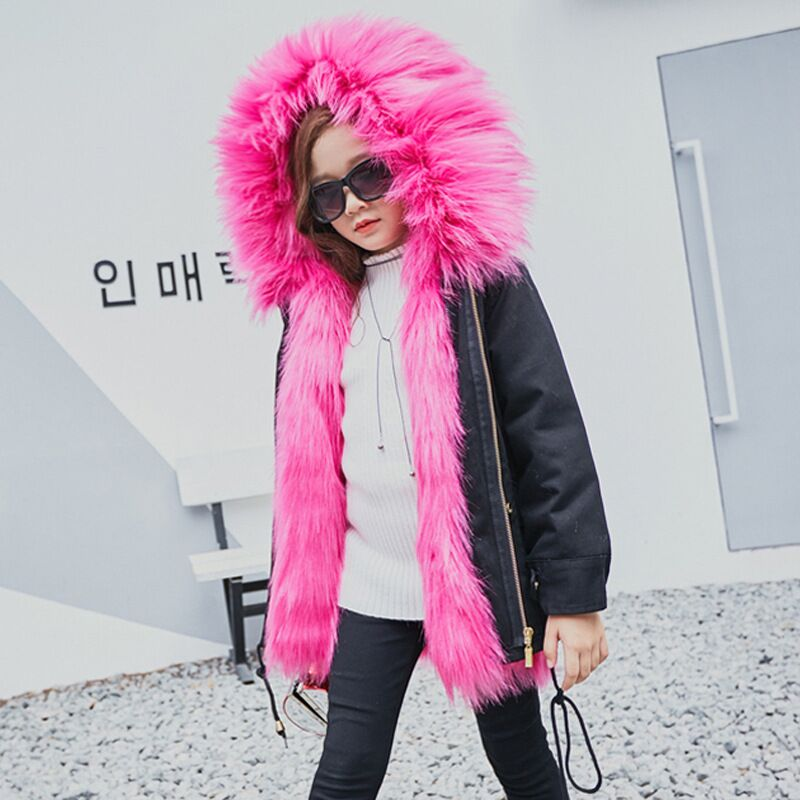 Girls Winter Coat Faux Fox Fur Liner Jackets For Girls Fur Coat Thick Kids Parkas Warm