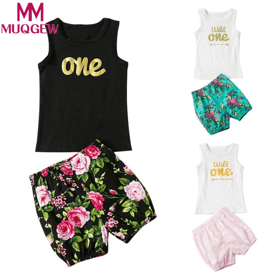 MUQGEW Newborn Infant Kid sunmer set Baby Girl suit Outfits Clothes Top Vest T-shirt+Floral Pants Set skirt baby ski suit baby boy clothes suits vest plaid shirt pants 3pcs set party formal gentleman wedding long sleeve kid clothing set free shipping