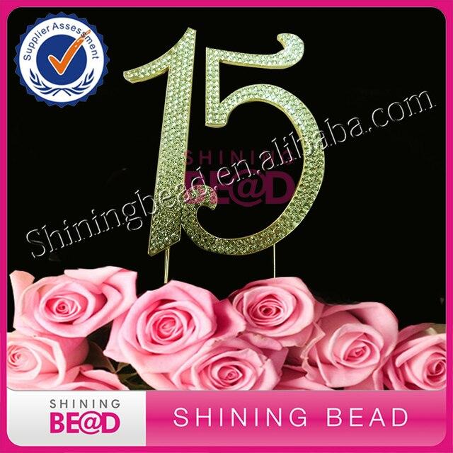 10pcs Number 15 Rhinestone Crystal Cake Topper Birthday Anniversary Diamante Bling Monogram Numbers