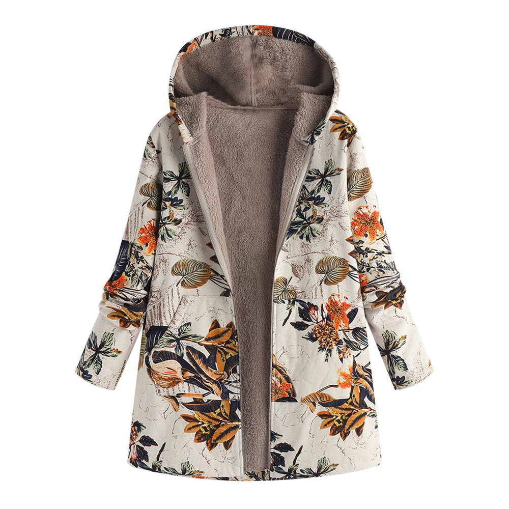 Manteau femme rétro grande taille imprimé Floral à capuche avec poches