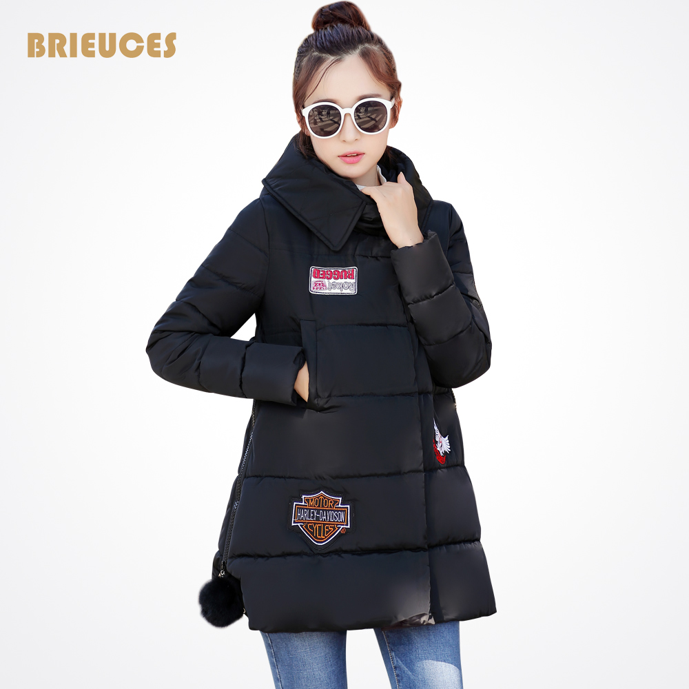 ФОТО 2016 Warm Women Winter Jacket Fashion embroidery Appliques Medium-long Slim Wadded Thick Parka Female Casual Jackets And Coats