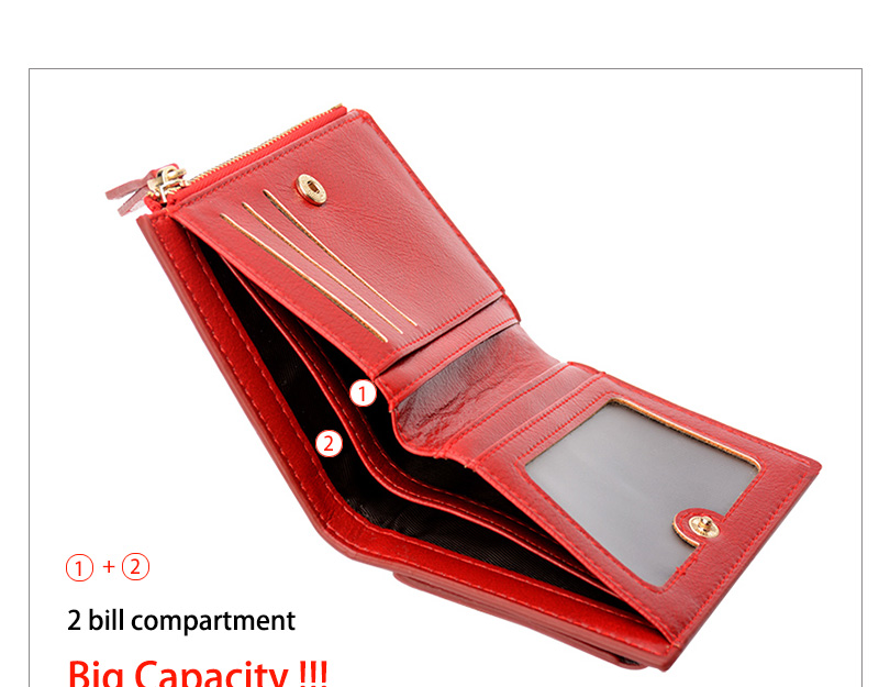 Women Wallet Small Purse Female Wallet Credit card slots zipper coin pocket Leather Wallet lovely pink one size 13