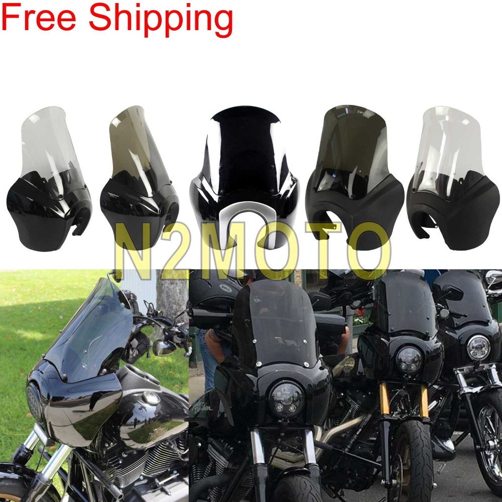 Free Shipping Fairing Tall Windshield Motorcycle Headlight Fairing for Harley Dyna Street Bob Wide Glide FXD