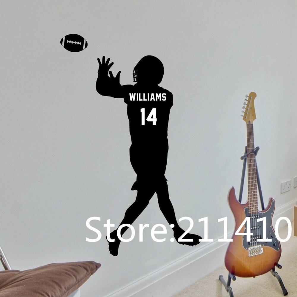 096ab929b7 Nombre personalizado y número fútbol Adhesivos de pared América Fútbol  reproductor Niños dormitorio Wall Decals Art Mural vinilos paredes a271