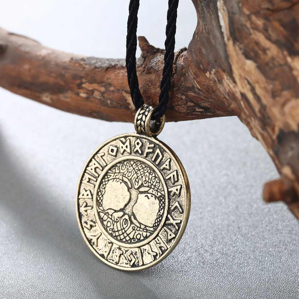 CHENGXUN Nordic Vikings Runes Amulett Halskette Der Baum des Lebens Runes Anhänger Halskette Nordic Talisman Teen Jungen Geschenk