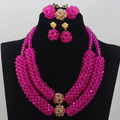 Fushia Pink Crystal Handmade Jewelry Sets African/Nigerian Jewelry Beads Set 2 Rows Design Birthday Gift Free Shipping ANJ081