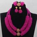 Fushia Rosa Artesanal de Cristal Conjuntos de Jóias Africano/Nigeriano Beads Jóias Set 2 Linhas ANJ081 Projeto Presente de Aniversário Frete Grátis
