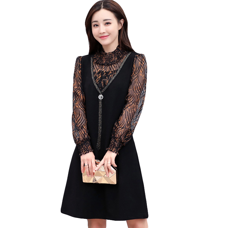 High Quality Fake 2 Pcs Print Women Dress Mother S Patchwork Hollow Out Office Lady Elegant