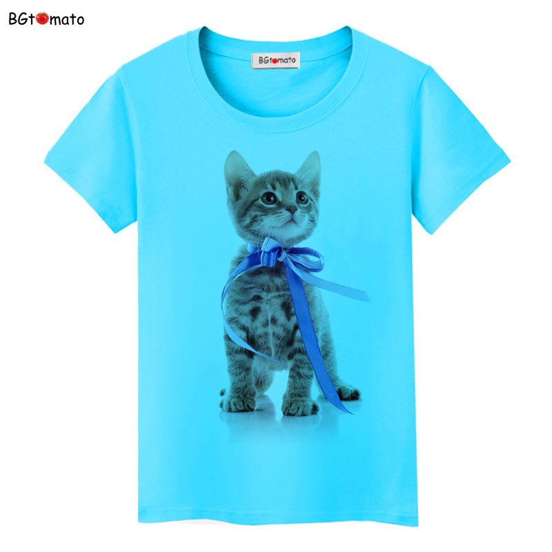 BGtomato Blue Ribbon cat gift T-shirt women/girl new trend tops lovely personality shirts Good quality brand clothes cool tees