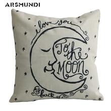 Words Moon Pillow Case Love Cushion Cover Letter Cotton Linen Vintage Bedroom Home use Decorative Pillowcase